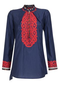 Navy and red embroidered tunic available only at Pernia's Pop-Up Shop.