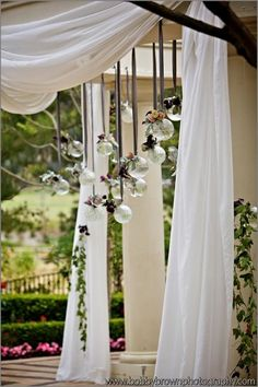Fabric Draping and love the hanging clear balls!