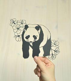 panda and cherry blossoms . original papercut . 8 x 10 on Etsy, $80.00