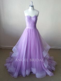 A-Line Light Purple Tulle Evening dress, Evening gown, Evening dresses, Evening gowns