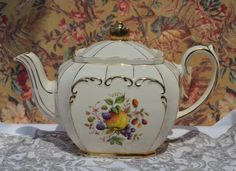 Sadler Teapot Cube Shape, Full Size, Vintage English Pottery,Ivory Cream, Fruit Decoration and Gilt, Excellent Condition by ImagineHowCharming on Etsy