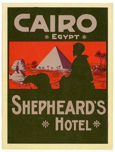 Art of the Luggage Label: Shepherd's Hotel, Cairo Egypt