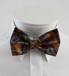 Mens  Bowtie Rust Copper Silver And Gray by fatbettysbowties