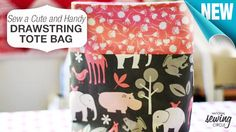 You can never have too many tote bags, right? In this tutorial, learn step-by-step to #sew this cute and handy drawstring tote bag with a quick and easy pattern. www.nationalsewingcircle.com/how-to-sew-a-cute-drawstring-tote-bag #LetsSew