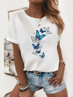Shirts & Tops, Women's Tops, Basic Tops, Mode Outfits, Printed Sweatshirts, White Women, Fashion Prints, Types Of Sleeves, Printed Cotton