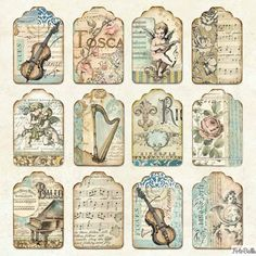 Vintage Labels - Paper Pad - Music Double Sided Sheets) by Stamperia for Scrapbooks, Cards, Decoupage Vintage, Decoupage Paper, Vintage Paper, Journal Stickers, Scrapbook Stickers, Scrapbook Paper, Vintage Scrapbook, Vintage Labels, Vintage Ephemera