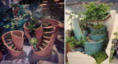 Mini Gardens Made from Broken Flower Pots