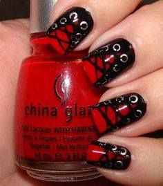Start by painting the nails black, then add a red v. Mark the eyelet holes in silver using a small straw or the end of an only pen with the ink taken out. Add laces with a  thin brush or toothpick.