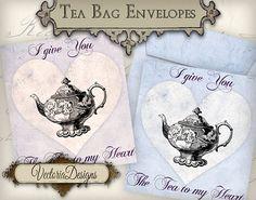 Valentine Tea Bag Holder envelope tag instant by VectoriaDesigns, $3.35