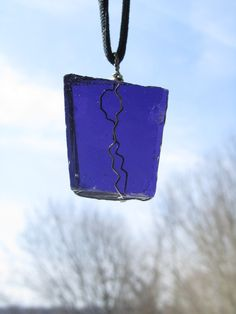 Purple Upcycled Glass Wire Wrapped Suncatcher ready to ship