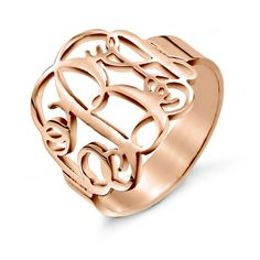 Available in sizes 4 to 10, this Fancy Script Monogram Rose Gold Vermeil Ring makes a stylish statement to any outfit. Customize with your monogram today!