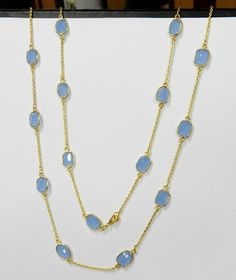 Blue Chalcedony gemstone brass gold plated bezel long chain primrose necklace #Handmade #Chain #Magicalcollection #Gemstone #NecklaceJewelry #SterlingSilver #Necklace #Brass #GoldPlated