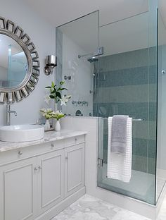 open shower rather than the standard tub, striped tile wall (Sarah Richardson design)