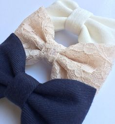 Beautiful lace navy and winter white hair bow by theSeasideSparrow, $11.00