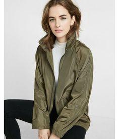 Mock Neck Long Convertible Sleeve Raincoat Green Women's XX Small #RaincoatsForWomenLongSleeve