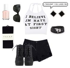 """Hate At First Sight"" by kaitgieske ❤ liked on Polyvore featuring O-Mighty, Essie, Falke, Chanel, Yvel, edgy and kaits1kcontest"