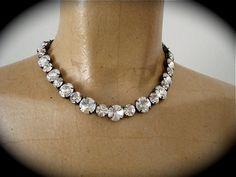 Swarovski  Tennis  Necklace Necklace- gunmetal settings - not sabika  by TheCrystalRose