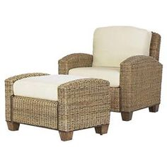 """Welcome blue skies and warm weather with this lovely summer-ready essential.   Product: Arm chair and ottomanConstruction Material: Natural woven banana leavesColor: HoneyFeatures: Cushions includedDimensions: Chair: 31.75"""" H x 36"""" W x 29.75"""" D Ottoman: 20.5"""" H x 32"""" W x 22"""" D"""