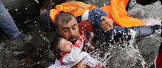 A Syrian refugee holds onto his children as he struggles to walk off a dinghy on the Greek island of Lesbos, after crossing a part of the Aegean Sea from Turkey to Lesbos September REUTERS/Yannis Behrakis Bless The Child, Henri Cartier Bresson, Refugee Crisis, Poor Children, Hungry Children, Precious Children, Syrian Refugees, Baby Kind, Human Rights