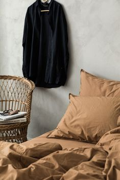 Midnatt Autumn 2017 Campaign. Dromedary brown grey duvet bedding and pillow case. Styling: Josefin Hååg Photo: Mikael Lundblad