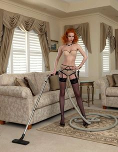 Seductive Housewife Photography : Elegantly Scant SS11. Vacuum.