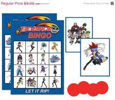 Instant Download Digital Beyblade Printable Birthday party bingo game
