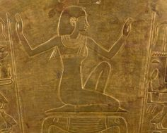 The goddess Isis, decorative detail of the sarcophagus of Queen Tuya, mother of Ramesses II, gilded wood. Egyptian Civilisation, New Kingdom, Dynasty XIX. Cairo, Egyptian Museum.