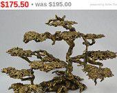 Vintage Brutalist Braised Brass or Bronze Japanese Bonsai Tree Modernist Eames Era Art  #Etsy