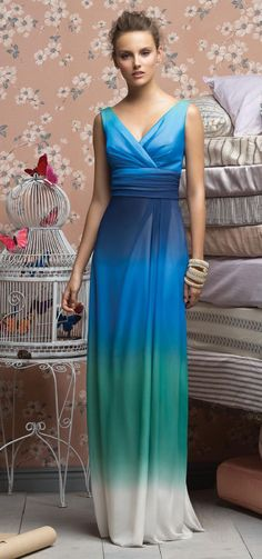 Wedding Attire:  Pacific Blues Ombre Bridesmaid's Dress in a light Crinkle Chiffon.
