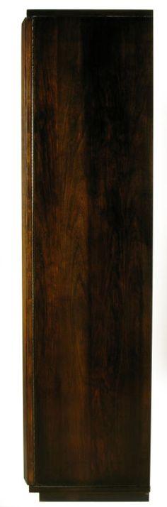 Tall Dark Walnut Bar Cabinet With Geometric Mirror Front image 10