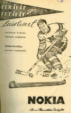#Nokia #Suomen Gummitehdas Oy #Jääkiekko #Terävät luistimet #Luistimen suojukset #1956 #Erva-Latvala Oy #Ishockey #Skridskor #skridskoskydd #Ice hockey #Skates