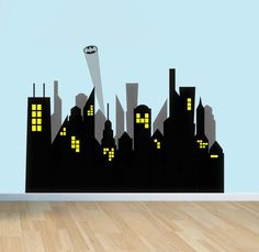 1000 images about home decor bodhi 39 s bedroom on for Batman cityscape wall mural