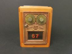 Cherry Antique Us Post Office Postal Box Door Bank #1 Dual Dial Eagle C. 1925