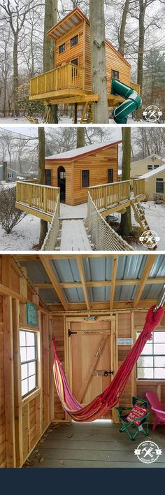 A modern style treehouse makes for a great tree-fort in the snow!