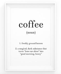 Coffee Definition Print - Black and White Quote - Word Art - Noun - Minimalist Scandinavian Art - Nordic Wall Art - Resizable