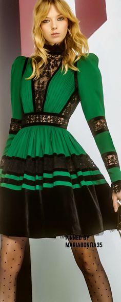 Elie Saab Pre F-17: green & black dress.