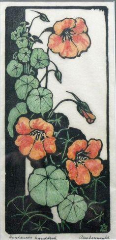 Nasturtiums, Oost-Indische Kers, Kapuziner Kress, Arie Zonneveld (1905-1941).