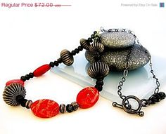 ON SALE Red Sponge Coral Necklace Statement Orange by MsBsDesigns, $54.00