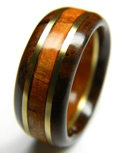 Handsome Walnut and Cherry Wood Anniversary Ring, 5th Anniversary, Fifth Anniversary, Wood Anniversary, For Him, Men's Gift, Man's Ring,