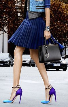 street style pleated navy skirt and color block heels
