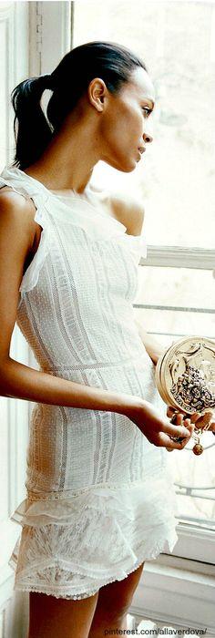 Net-a-Porter's muse is Zoe Saldana, little white dress