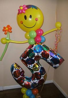 #BB21  4.5ft Smiley Face Number Character, with Candy & Card