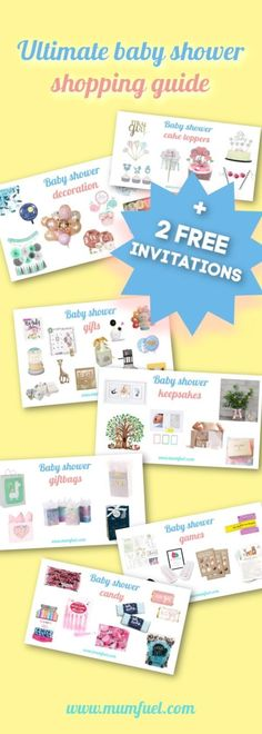 Do you plan to celebrate a baby shower or do you need inspiration on what to buy to make a wonderful party? This is the ultimate shopping guide with everything you need. BONUS: 1 created 2 FREE baby shower invitations for you to fill in and print Baby Shower Party Bags, Baby Shower Gifts To Make, Fiesta Baby Shower, Baby Shower Candy, Baby Shower Supplies, Baby Shower Games, Baby Boy Shower, Baby Supplies, Baby Shower Checklist
