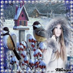 Lady-Winter Completer, Vintage Winter, Gifs, Frames, Glitter, Animation, Lady, Awesome, Videos