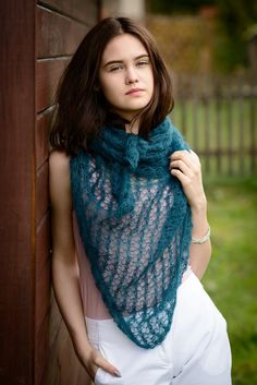 Mohair scarf/  hand knit merino shawl/ by Isabellwoolstudio