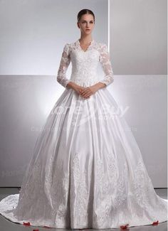 Kate middlton V-neck Lace Sleeves Satin Chapel Train Appliques A-line Wedding  Dresses Gowns 07cfe5521bd3