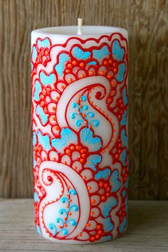Henna Style Painted Candle, Bright Red, Coral Orange, and Turquoise, Ivory Pillar Candle, Fresh Linen Scent