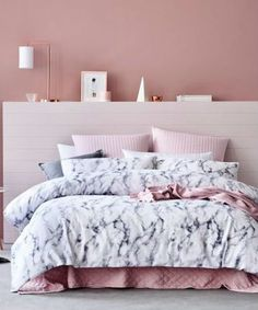 Pink Bedroom with Marbled Bed