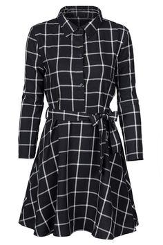 dc4f51e2ac Cupshe All I Want Black Plaid Shirt Dress Collar Shirts