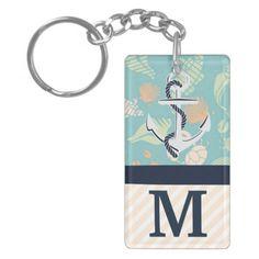 Nautical Anchor Fish Monogram Keychain
